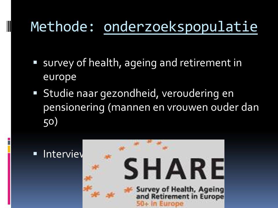 Methode: onderzoekspopulatie  survey of health, ageing and retirement in europe  Studie naar gezondheid, veroudering en pensionering (mannen en vrou