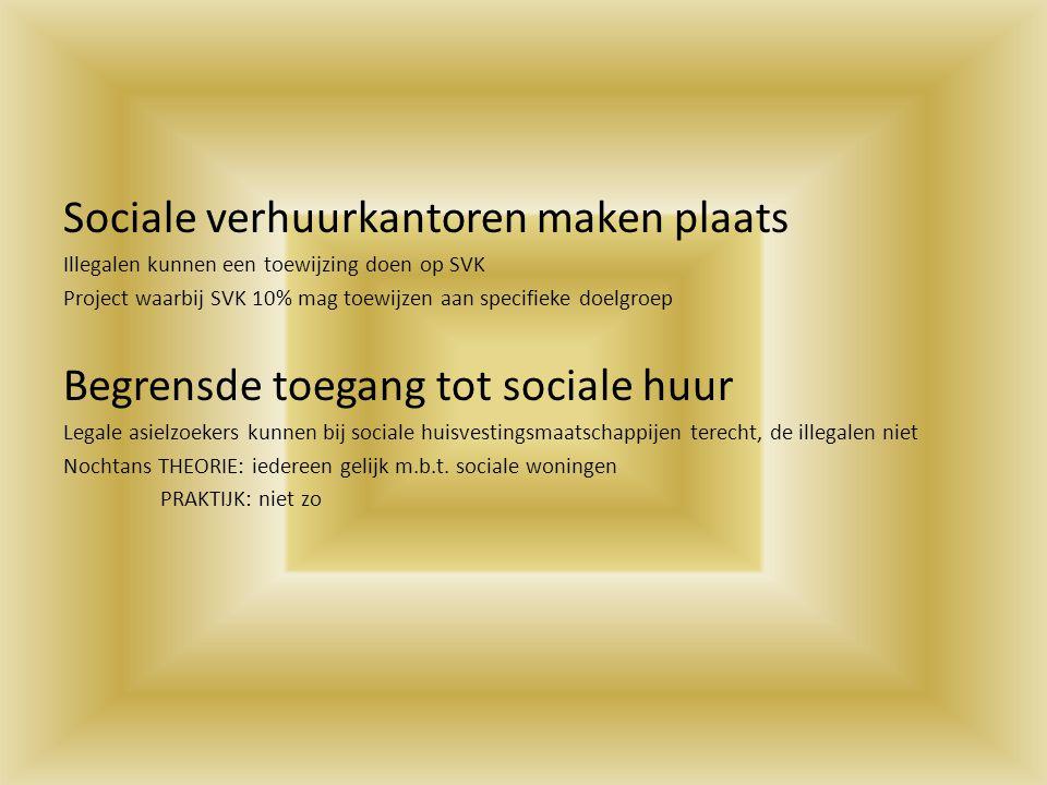 Sociale verhuurkantoren maken plaats Illegalen kunnen een toewijzing doen op SVK Project waarbij SVK 10% mag toewijzen aan specifieke doelgroep Begren