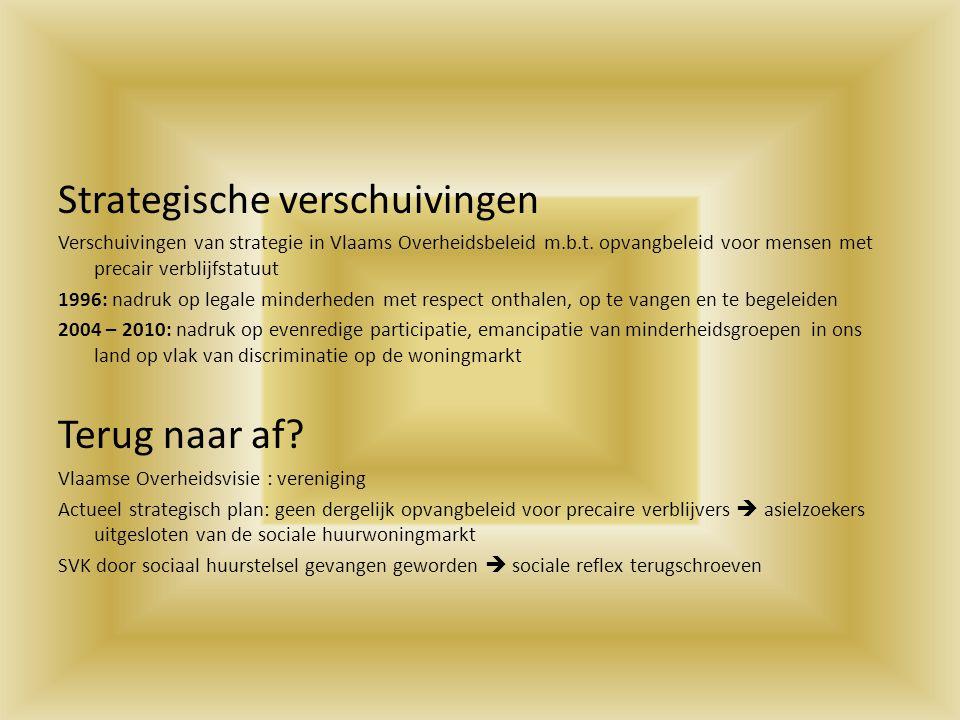 Strategische verschuivingen Verschuivingen van strategie in Vlaams Overheidsbeleid m.b.t. opvangbeleid voor mensen met precair verblijfstatuut 1996: n