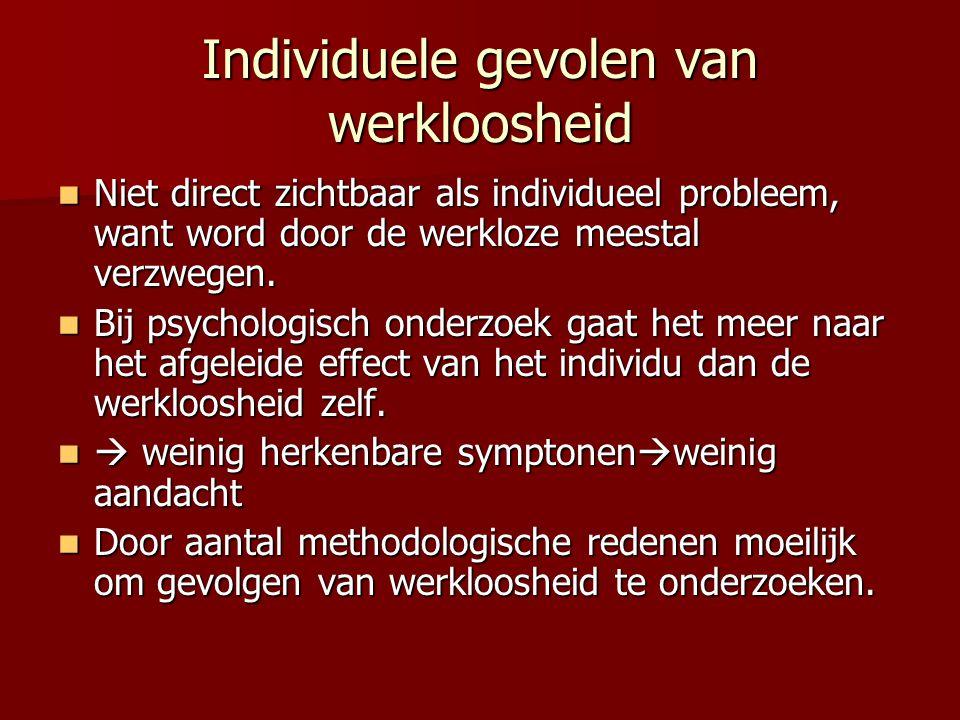 Psychosociale gevolgen van werkloosheid Vermindering van het zelfwaardegevoel.