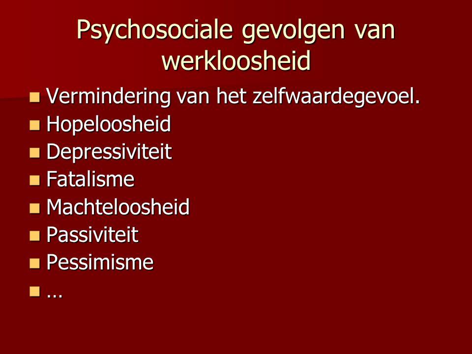 Psychosociale gevolgen van werkloosheid Vermindering van het zelfwaardegevoel. Vermindering van het zelfwaardegevoel. Hopeloosheid Hopeloosheid Depres