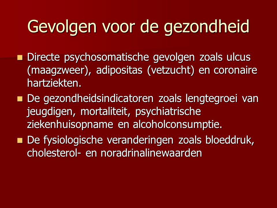 Gevolgen voor de gezondheid Directe psychosomatische gevolgen zoals ulcus (maagzweer), adipositas (vetzucht) en coronaire hartziekten. Directe psychos
