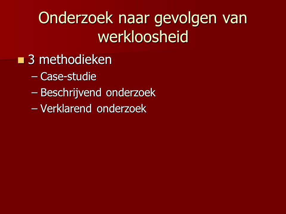 Onderzoek naar gevolgen van werkloosheid 3 methodieken 3 methodieken –Case-studie –Beschrijvend onderzoek –Verklarend onderzoek