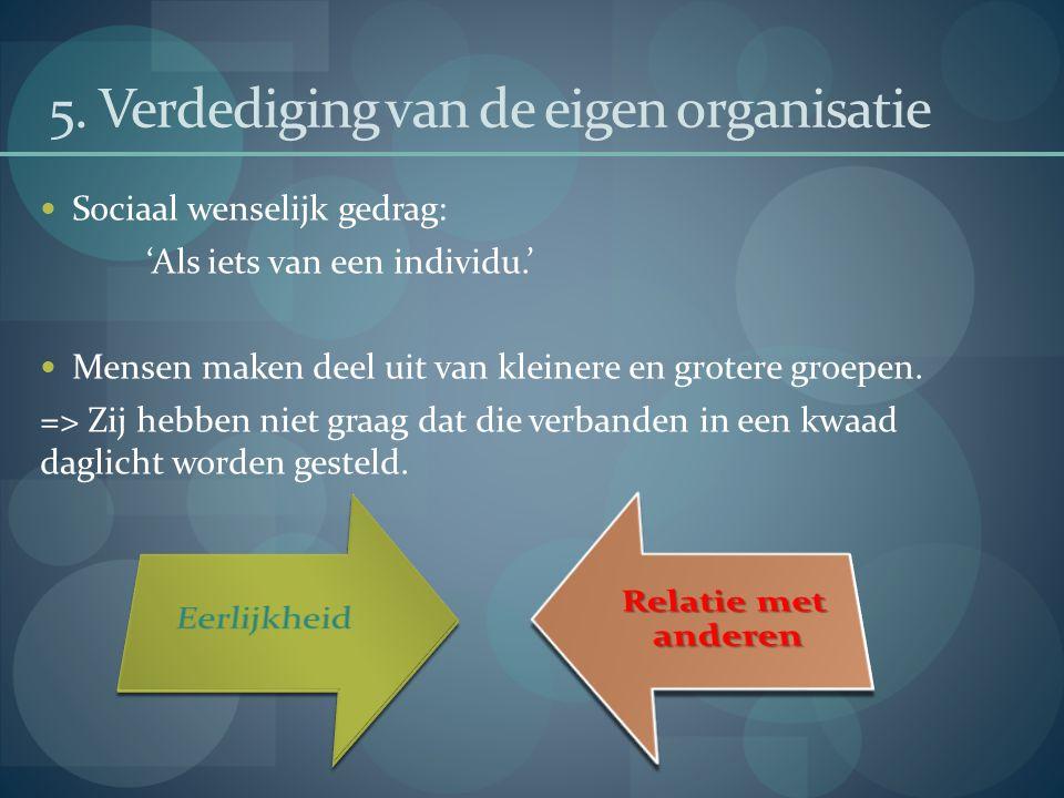 5. Verdediging van de eigen organisatie Sociaal wenselijk gedrag: 'Als iets van een individu.' Mensen maken deel uit van kleinere en grotere groepen.