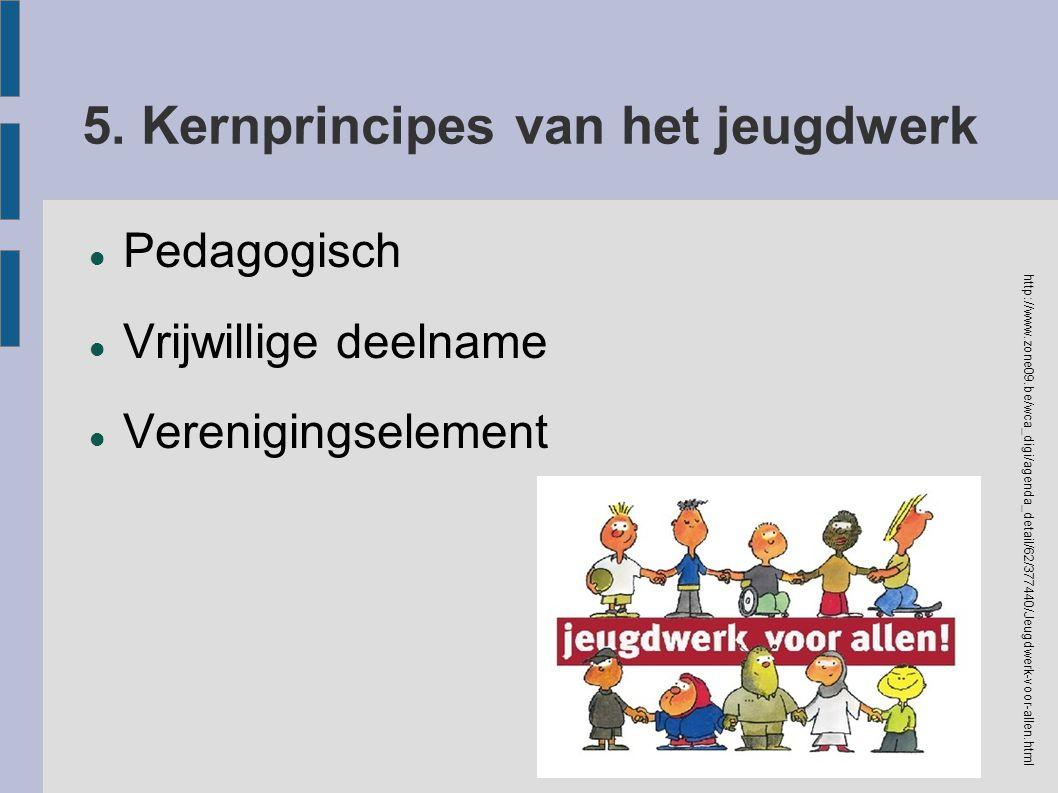 5. Kernprincipes van het jeugdwerk Pedagogisch Vrijwillige deelname Verenigingselement http://www.zone09.be/wca_digi/agenda_detail/62/377440/Jeugdwerk