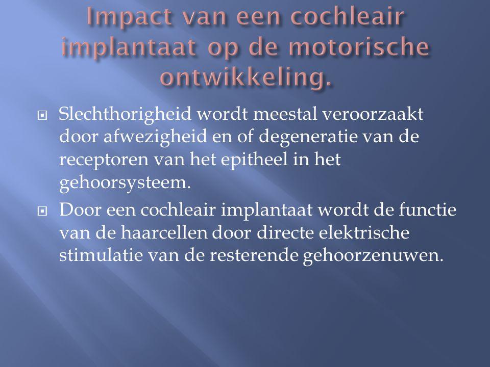  Slechthorigheid wordt meestal veroorzaakt door afwezigheid en of degeneratie van de receptoren van het epitheel in het gehoorsysteem.  Door een coc