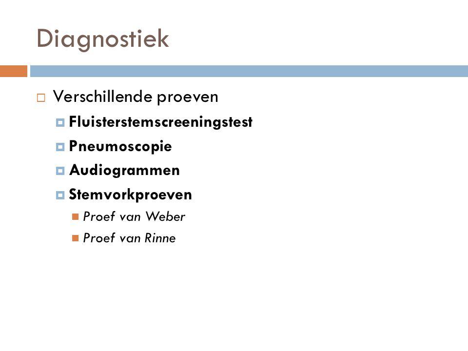 Diagnostiek  Verschillende proeven  Fluisterstemscreeningstest  Pneumoscopie  Audiogrammen  Stemvorkproeven Proef van Weber Proef van Rinne