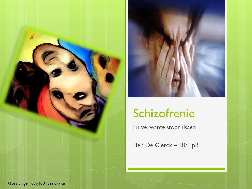 Schizofrenie En verwante stoornissen Fien De Clerck – 1BaTpB Afbeeldingen: Google Afbeeldingen