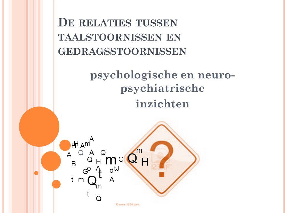 D E RELATIES TUSSEN TAALSTOORNISSEN EN GEDRAGSSTOORNISSEN psychologische en neuro- psychiatrische inzichten A B C G H J t o oA A A A A H H t t t Q Q Q