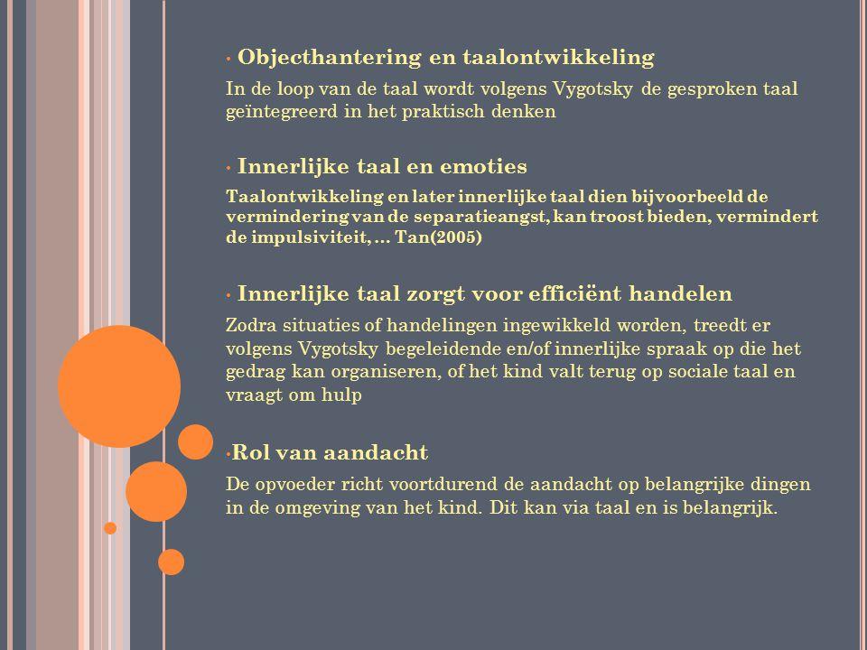 Objecthantering en taalontwikkeling In de loop van de taal wordt volgens Vygotsky de gesproken taal geïntegreerd in het praktisch denken Innerlijke ta