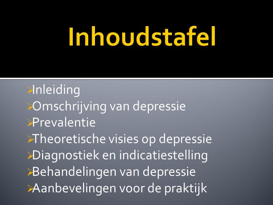  Inleiding  Omschrijving van depressie  Prevalentie  Theoretische visies op depressie  Diagnostiek en indicatiestelling  Behandelingen van depre