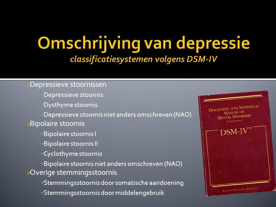  Depressieve stoornissen Depressieve stoornis Dysthyme stoornis Depressieve stoornis niet anders omschreven (NAO)  Bipolaire stoornis Bipolaire stoo