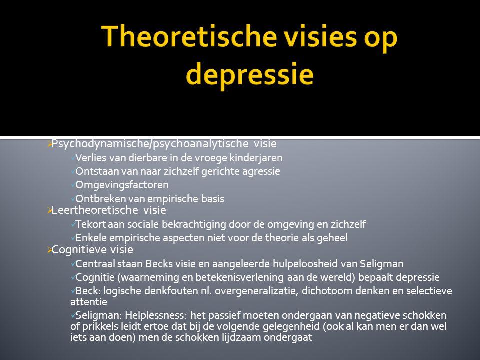  Psychodynamische/psychoanalytische visie Verlies van dierbare in de vroege kinderjaren Ontstaan van naar zichzelf gerichte agressie Omgevingsfactore