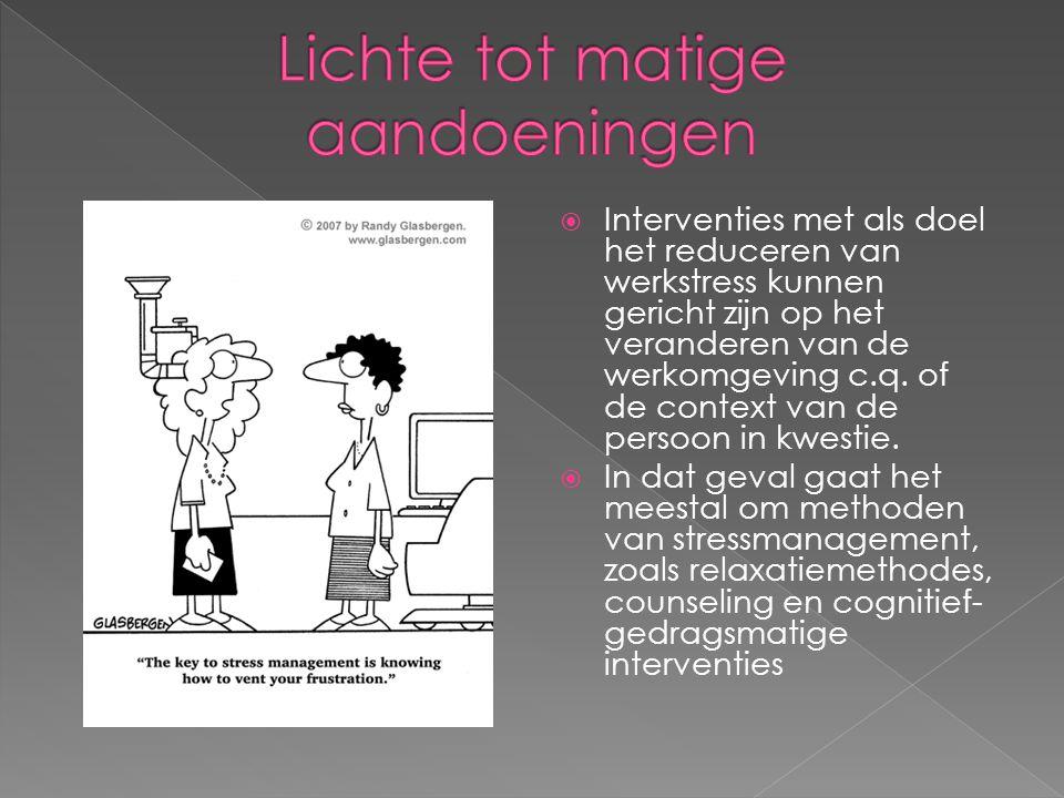  Interventies met als doel het reduceren van werkstress kunnen gericht zijn op het veranderen van de werkomgeving c.q. of de context van de persoon i