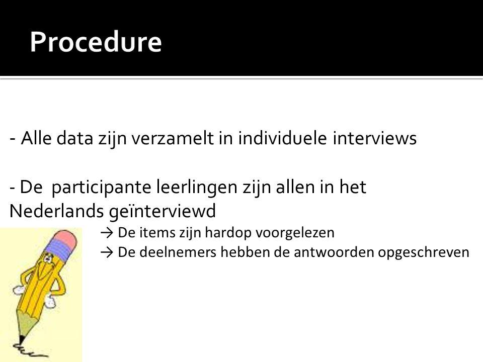 - Alle data zijn verzamelt in individuele interviews - De participante leerlingen zijn allen in het Nederlands geïnterviewd → De items zijn hardop voo