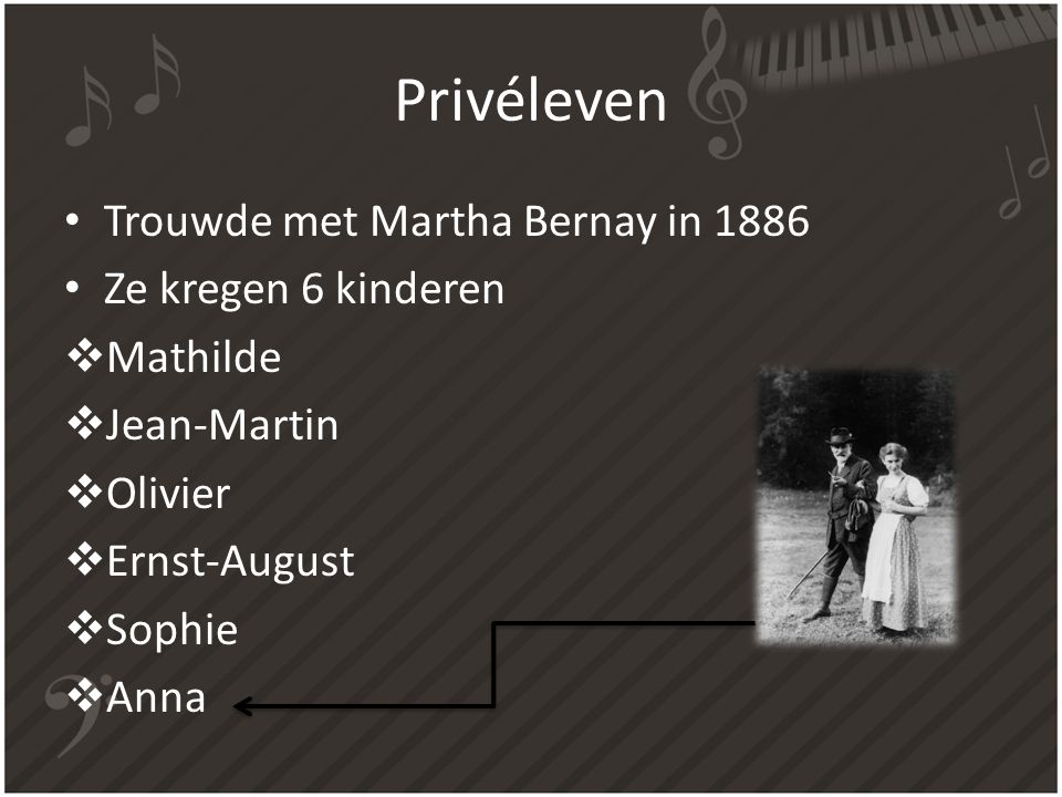 Privéleven Trouwde met Martha Bernay in 1886 Ze kregen 6 kinderen  Mathilde  Jean-Martin  Olivier  Ernst-August  Sophie  Anna