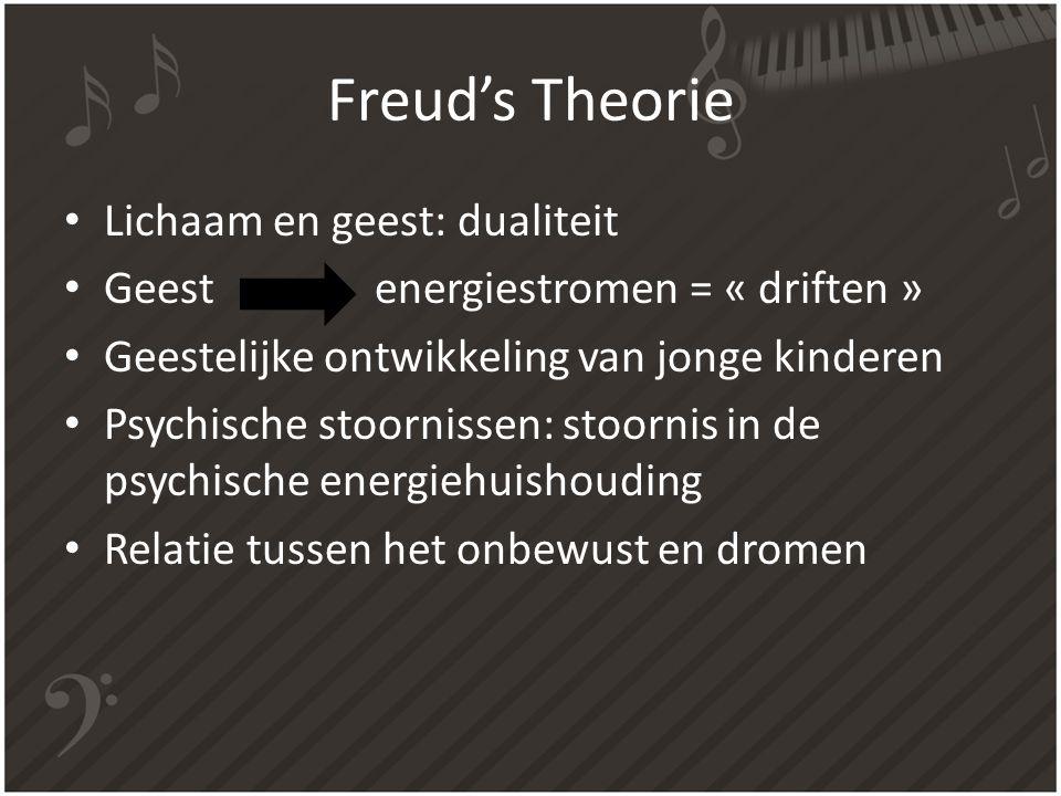 Freud's Theorie Lichaam en geest: dualiteit Geest energiestromen = « driften » Geestelijke ontwikkeling van jonge kinderen Psychische stoornissen: sto