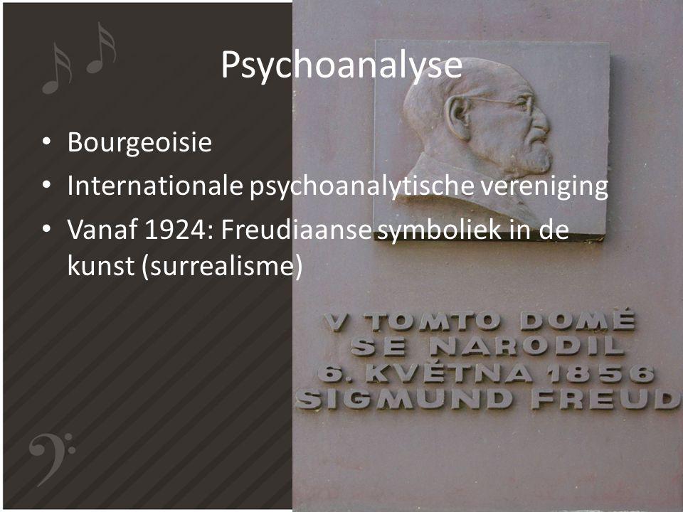 Psychoanalyse Bourgeoisie Internationale psychoanalytische vereniging Vanaf 1924: Freudiaanse symboliek in de kunst (surrealisme)