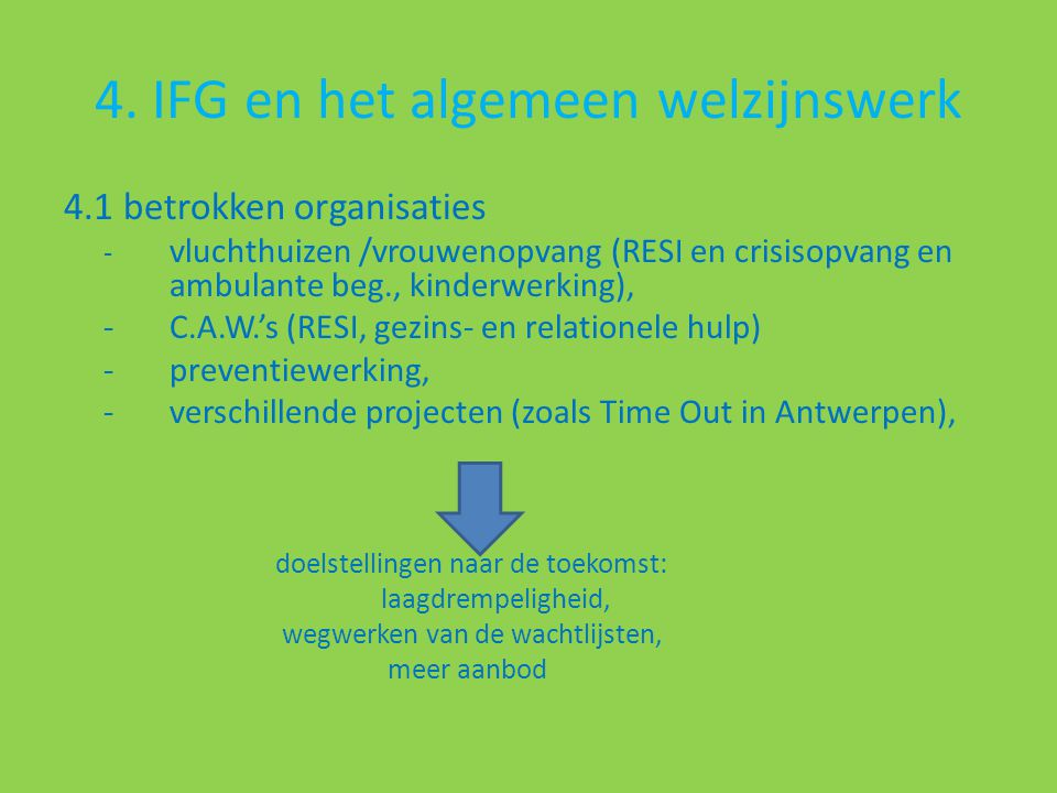 4. IFG en het algemeen welzijnswerk 4.1 betrokken organisaties - vluchthuizen /vrouwenopvang (RESI en crisisopvang en ambulante beg., kinderwerking),