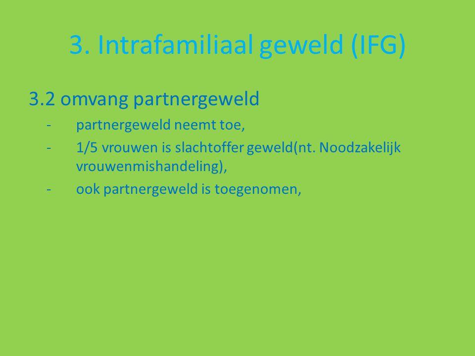 3. Intrafamiliaal geweld (IFG) 3.2 omvang partnergeweld -partnergeweld neemt toe, -1/5 vrouwen is slachtoffer geweld(nt. Noodzakelijk vrouwenmishandel
