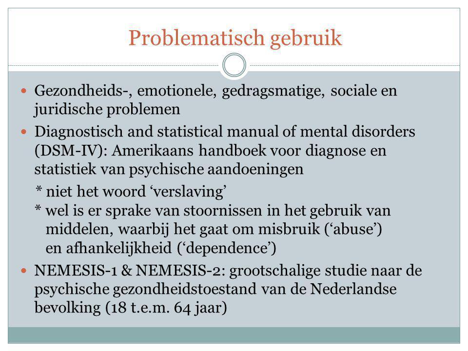 Problematisch gebruik Gezondheids-, emotionele, gedragsmatige, sociale en juridische problemen Diagnostisch and statistical manual of mental disorders