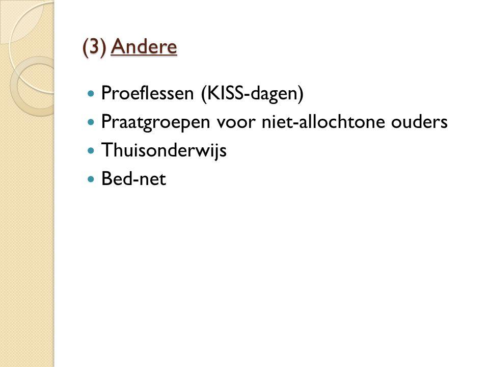 (3) Andere Proeflessen (KISS-dagen) Praatgroepen voor niet-allochtone ouders Thuisonderwijs Bed-net