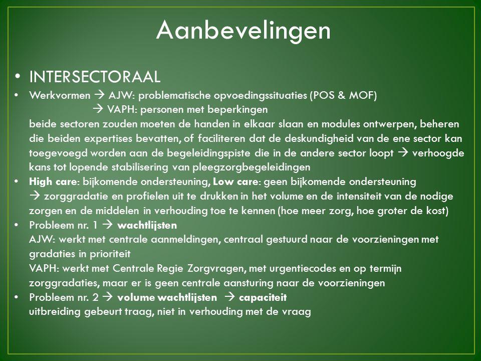 INTERSECTORAAL Werkvormen  AJW: problematische opvoedingssituaties (POS & MOF)  VAPH: personen met beperkingen beide sectoren zouden moeten de hande