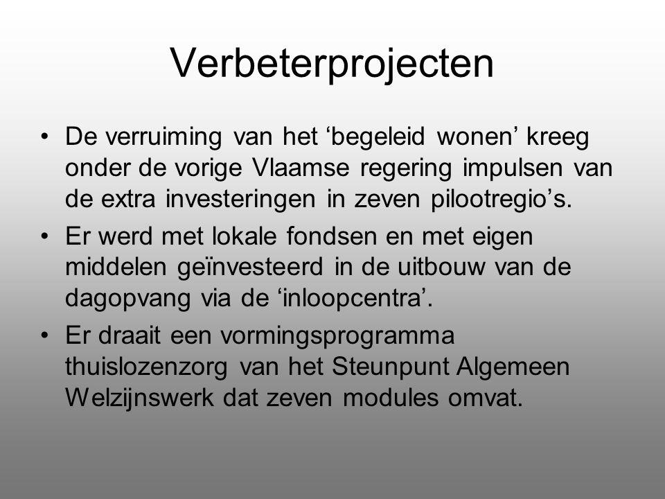 Verbeterprojecten De verruiming van het 'begeleid wonen' kreeg onder de vorige Vlaamse regering impulsen van de extra investeringen in zeven pilootreg