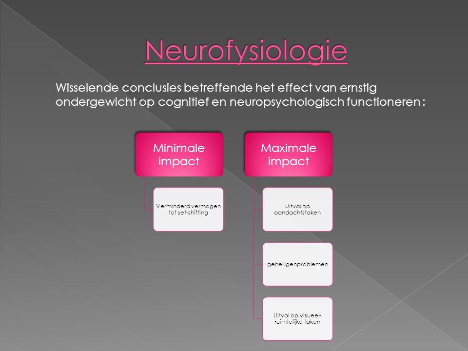 Minimale impact Verminderd vermogen tot set-shifting Maximale impact Uitval op aandachtstaken geheugenproblemen Uitval op visueel- ruimtelijke taken Wisselende conclusies betreffende het effect van ernstig ondergewicht op cognitief en neuropsychologisch functioneren :