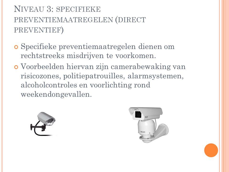 N IVEAU 3: SPECIFIEKE PREVENTIEMAATREGELEN ( DIRECT PREVENTIEF ) Specifieke preventiemaatregelen dienen om rechtstreeks misdrijven te voorkomen. Voorb