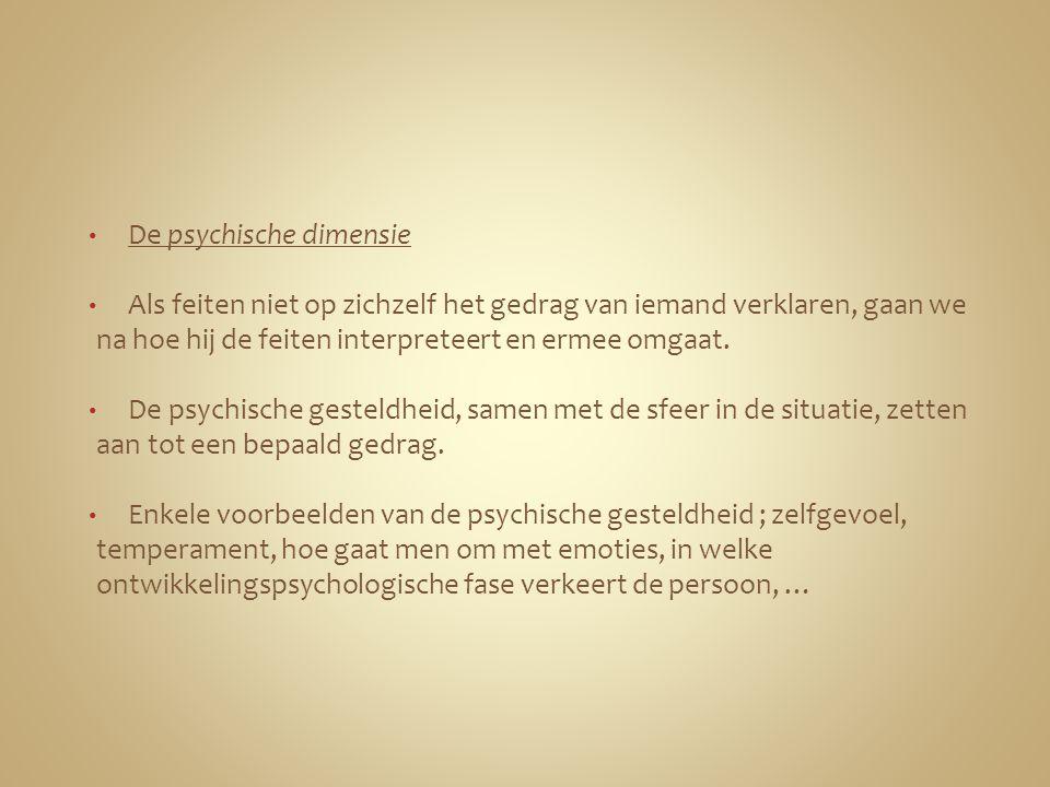 De psychische dimensie Als feiten niet op zichzelf het gedrag van iemand verklaren, gaan we na hoe hij de feiten interpreteert en ermee omgaat. De psy