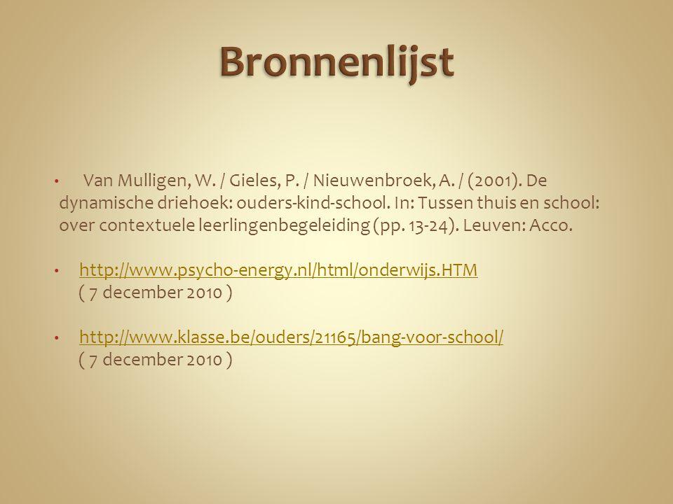 Van Mulligen, W. / Gieles, P. / Nieuwenbroek, A. / (2001). De dynamische driehoek: ouders-kind-school. In: Tussen thuis en school: over contextuele le