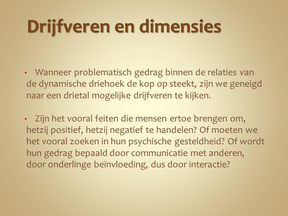 De feitelijke dimensie Het gedrag kan pas begrepen worden als we eerst naar de feiten kijken die diens bestaan ernstig beïnvloeden.