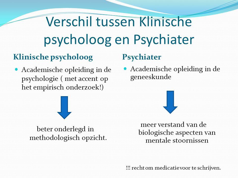 Verschil tussen Klinische psycholoog en Psychiater Klinische psycholoog Psychiater Academische opleiding in de psychologie ( met accent op het empirisch onderzoek!) beter onderlegd in methodologisch opzicht.
