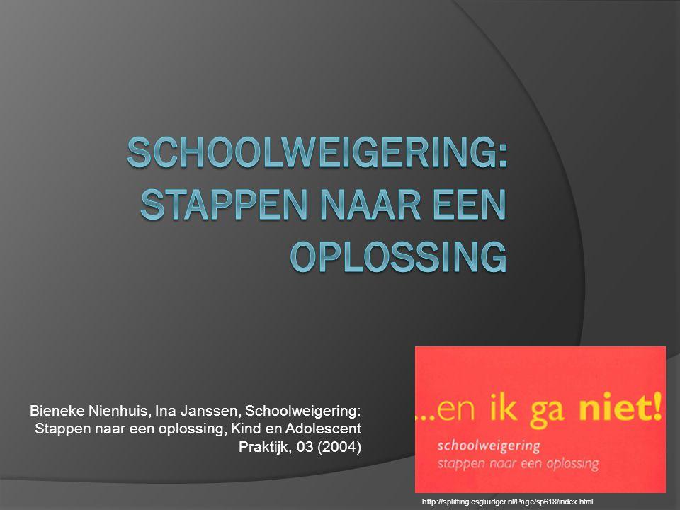 Bieneke Nienhuis, Ina Janssen, Schoolweigering: Stappen naar een oplossing, Kind en Adolescent Praktijk, 03 (2004) http://splitting.csgliudger.nl/Page/sp618/index.html