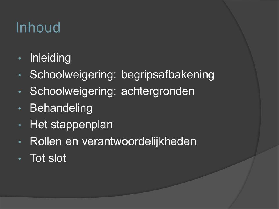 Inhoud Inleiding Schoolweigering: begripsafbakening Schoolweigering: achtergronden Behandeling Het stappenplan Rollen en verantwoordelijkheden Tot slot