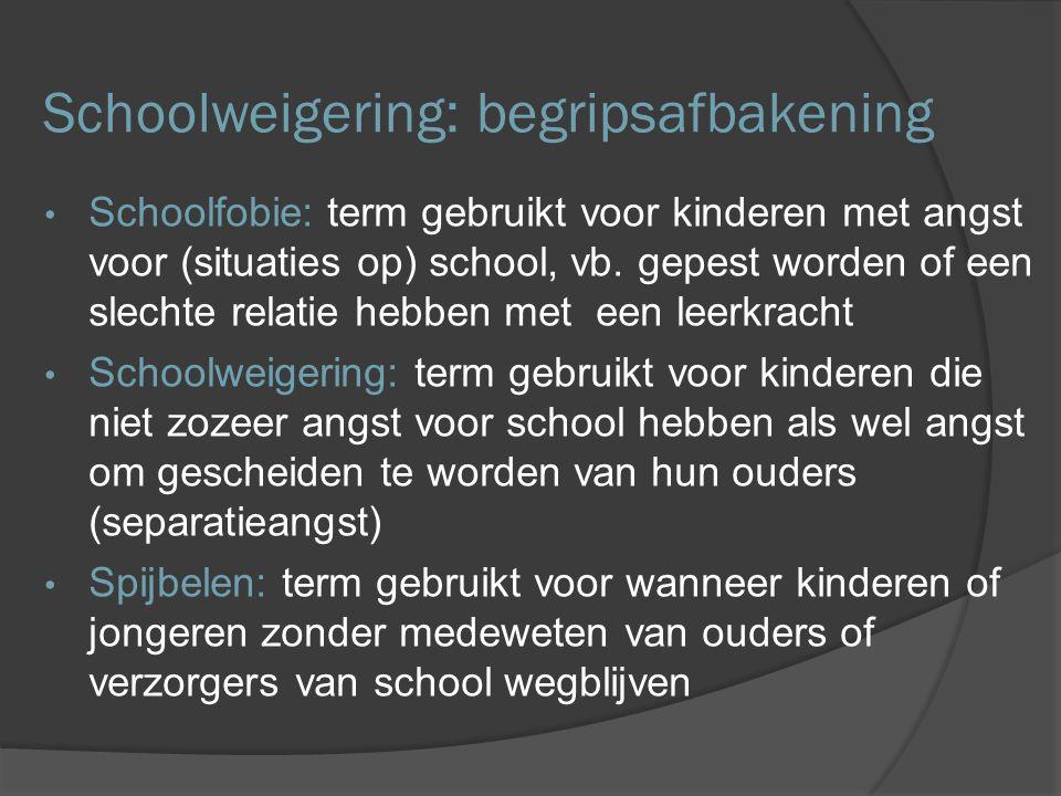 Schoolweigering: begripsafbakening Schoolfobie: term gebruikt voor kinderen met angst voor (situaties op) school, vb. gepest worden of een slechte rel