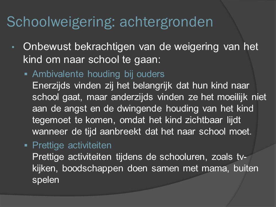 Behandeling Gezinsbegeleiding en gedragstherapie  Pragmatische interventies Zij hebben tot doel ouders en kind zo snel mogelijk zover te krijgen dat ze de uitdaging - het naar school gaan - weer aandurven  Crisisinterventies Snel ingrijpen, zorgen voor en therapeut die goed bereikbaar is, de mogelijkheid tot een geregeld telefonisch contact en directe hulpverlening wanneer spanningen toenemen http://www.leidenuniv.nl/nieuwsarchief2/775.html