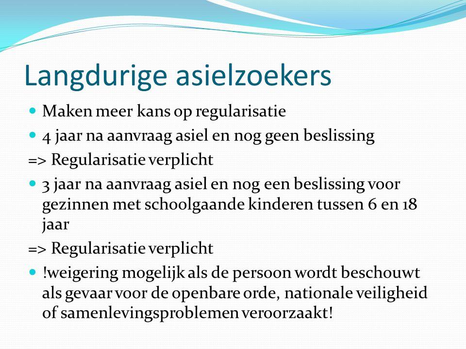 Regularisatie Aanvraag door mensen zonder geldige verblijfsdocumenten of met onzeker verblijfsstatuut Bewijzen => niet mogelijk om terug te keren naar