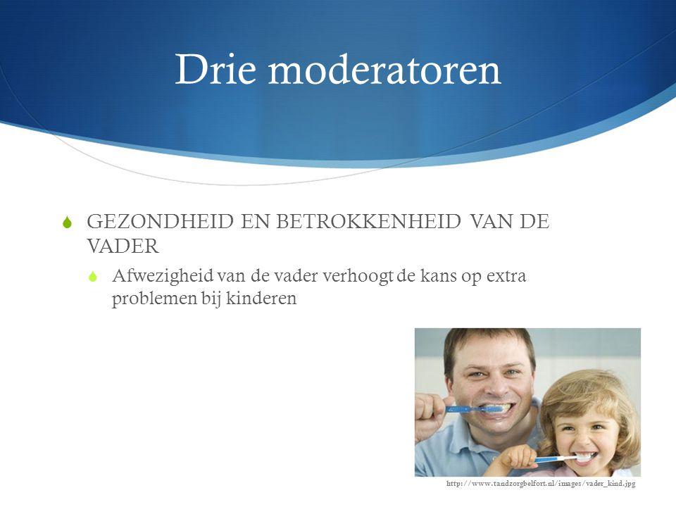 Drie moderatoren  GEZONDHEID EN BETROKKENHEID VAN DE VADER  Afwezigheid van de vader verhoogt de kans op extra problemen bij kinderen http://www.tandzorgbelfort.nl/images/vader_kind.jpg