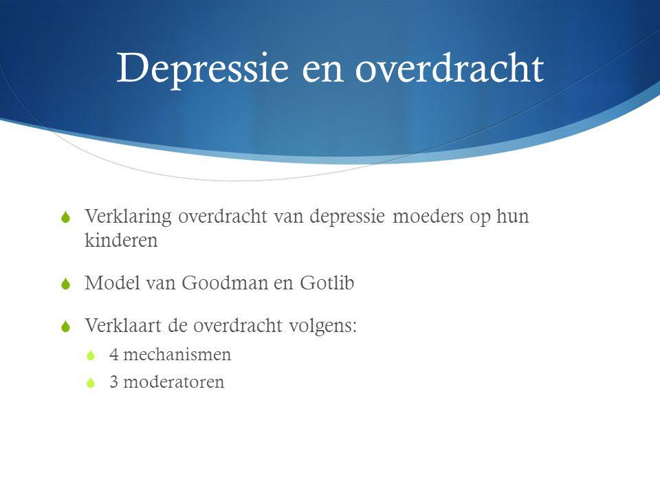 Depressie en overdracht  Verklaring overdracht van depressie moeders op hun kinderen  Model van Goodman en Gotlib  Verklaart de overdracht volgens: