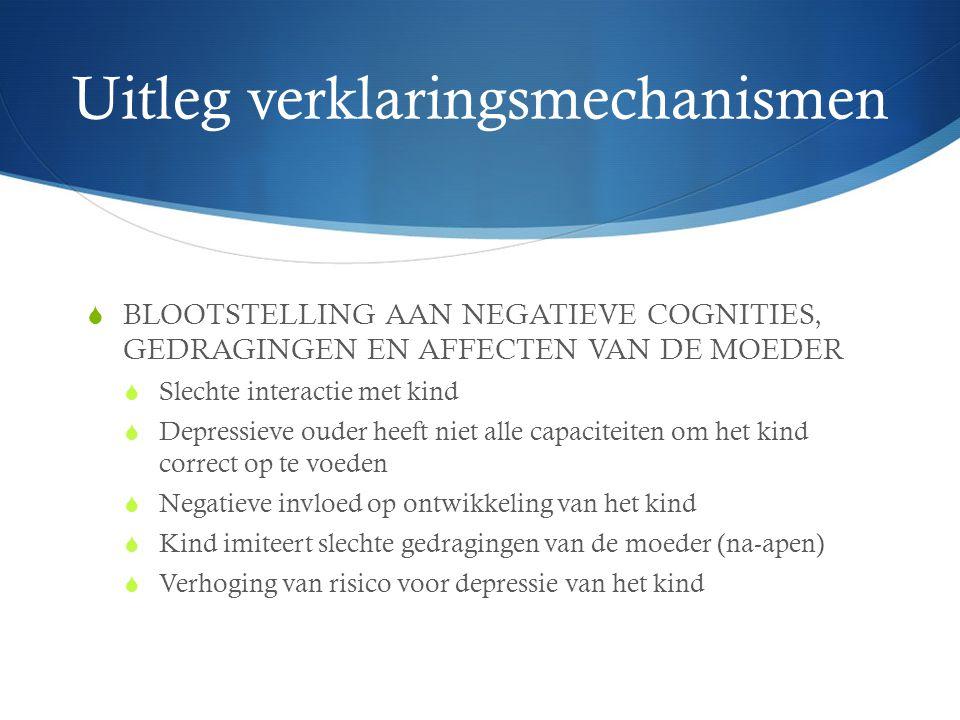 Uitleg verklaringsmechanismen  BLOOTSTELLING AAN NEGATIEVE COGNITIES, GEDRAGINGEN EN AFFECTEN VAN DE MOEDER  Slechte interactie met kind  Depressie