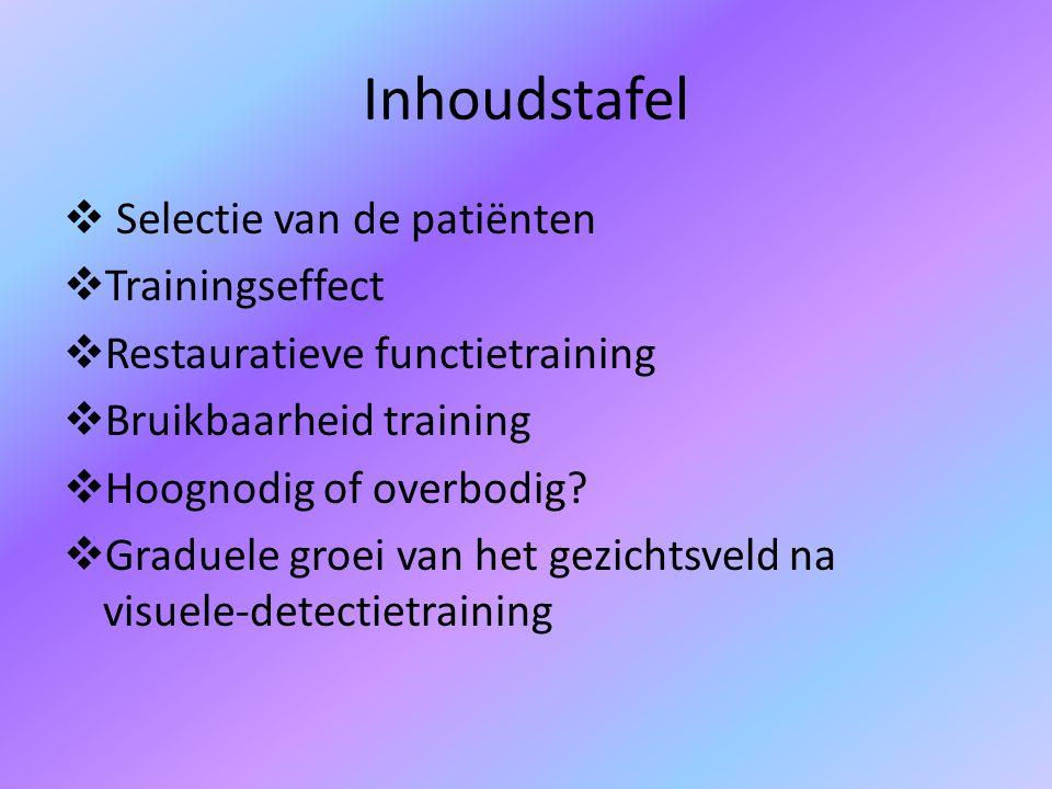 Inhoudstafel  Selectie van de patiënten  Trainingseffect  Restauratieve functietraining  Bruikbaarheid training  Hoognodig of overbodig.