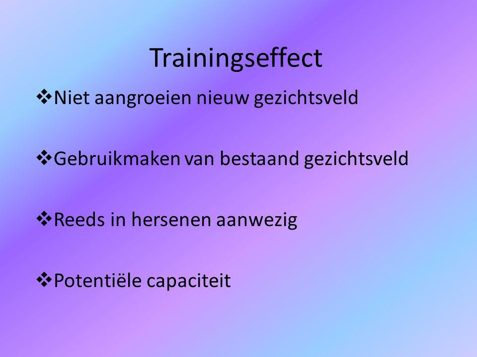 Trainingseffect  Niet aangroeien nieuw gezichtsveld  Gebruikmaken van bestaand gezichtsveld  Reeds in hersenen aanwezig  Potentiële capaciteit