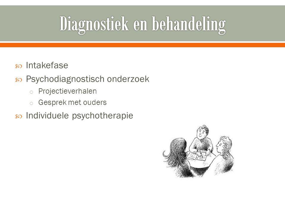  Intakefase  Psychodiagnostisch onderzoek o Projectieverhalen o Gesprek met ouders  Individuele psychotherapie