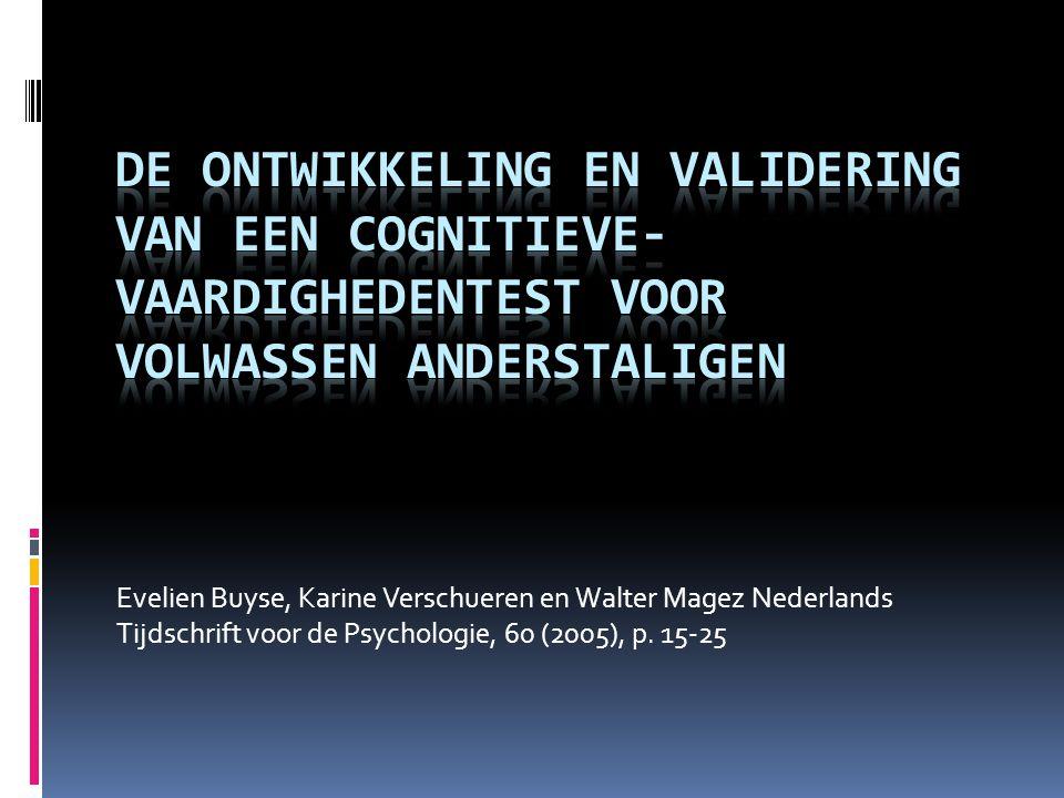 Evelien Buyse, Karine Verschueren en Walter Magez Nederlands Tijdschrift voor de Psychologie, 60 (2005), p.