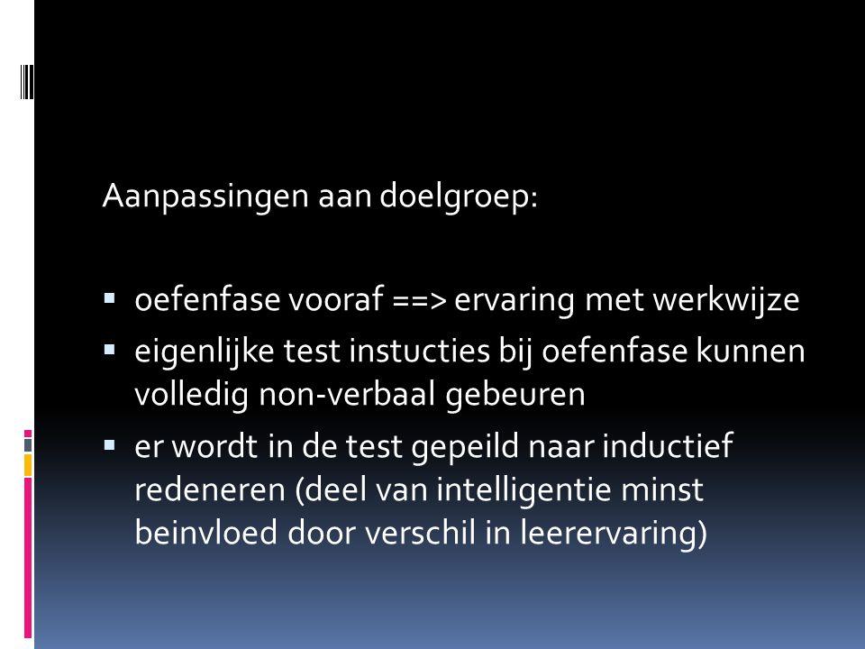 Aanpassingen aan doelgroep:  oefenfase vooraf ==> ervaring met werkwijze  eigenlijke test instucties bij oefenfase kunnen volledig non-verbaal gebeuren  er wordt in de test gepeild naar inductief redeneren (deel van intelligentie minst beinvloed door verschil in leerervaring)