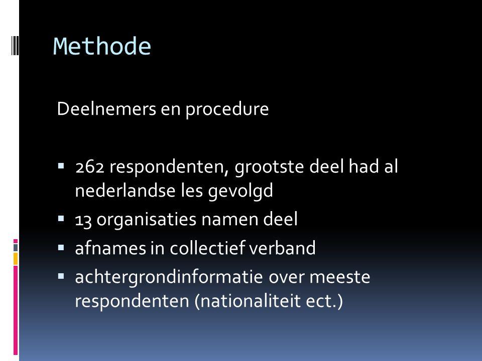 Methode Deelnemers en procedure  262 respondenten, grootste deel had al nederlandse les gevolgd  13 organisaties namen deel  afnames in collectief verband  achtergrondinformatie over meeste respondenten (nationaliteit ect.)