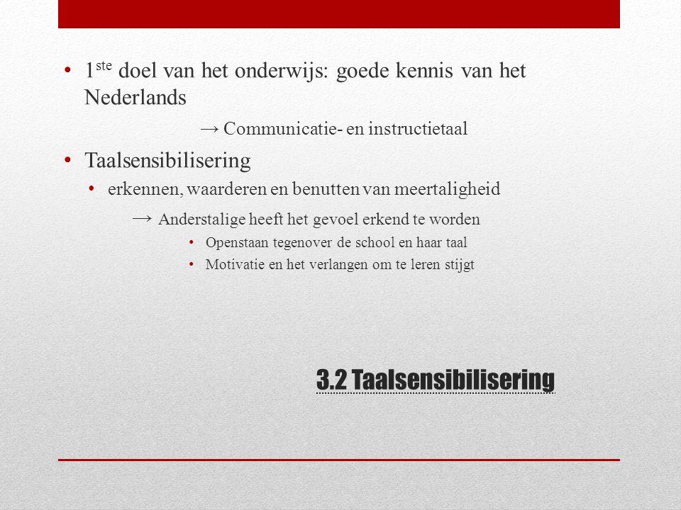 3.2 Taalsensibilisering 1 ste doel van het onderwijs: goede kennis van het Nederlands → Communicatie- en instructietaal Taalsensibilisering erkennen,