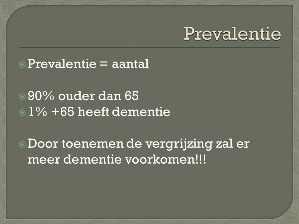  Prevalentie = aantal  90% ouder dan 65  1% +65 heeft dementie  Door toenemen de vergrijzing zal er meer dementie voorkomen!!!